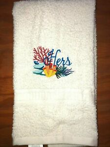 Embroidered Ivory Bathroom  Hand Towel  Sea Coral and Grass HERS   HS1777