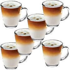 6x 350ml in Vetro Trasparente Tazze Nuove le Tisane Caffè Cioccolata Calda Latte Macchiato Cappuccino