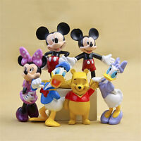 6pcs Mickey Mouse Minnie Donald Pooh Bear Disney Figure Toy Doll Cake Topper