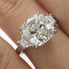 Cushion Near White Moissanite 8.22 Ct Fancy Engagement 925 Sterling Silver Ring