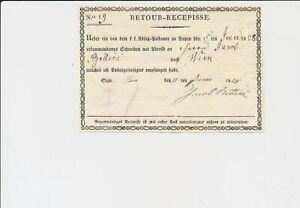 ÖSTERREICH 1828 RETOUR-RECEPISSE aus SIGN (Dalmatien) Besonders schön!