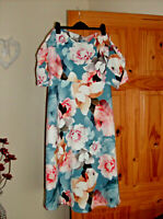 v by very ladies frill sleeve bardot floral dress uk sz 18 new