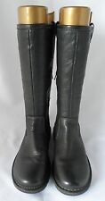 Ecco Women's Black Leather Flat Zip Boots Size 6.5-7 EU 40 25.7cm