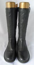 Ecco Donna Neri In Pelle Piatto Con Cerniera Stivali Taglia 6.5-7 UE 40 25,7 cm