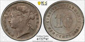 """1885 10C STRAITS SETTLEMENTS MALAYSIA """"VICTORIA"""" PCGS AU DETAILS #42757641 KM#11"""