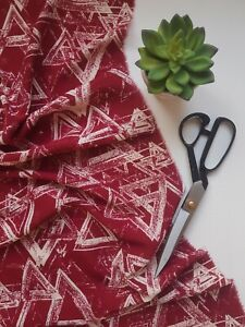 Maroon Triangle Print Viscose Fabric Dress Skirt Blouse Sewing Crafts Material