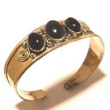 Amazing Tibetan Silver Brass Black Onyx Cuff Bracelet Bangel Gemstone Jewelry