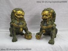 Chinese Folk Classic Bronze  Evil Bei Jing Door Gate Fu Foo Dog Lion Pair
