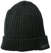 Levis Little Boys Rib Knit Rolled Cuff Beanie Cap Winter Hat Black Size 4/7