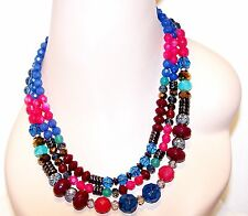 APT. 9 Necklace NEW on Card ● 3 Strand Multi Color Blue Pink Silver Brown Aqua