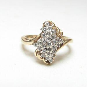 Estate 14K Yellow And White Gold 27 Brilliant Cut Diamond Cluster Ring 0.50 Cts