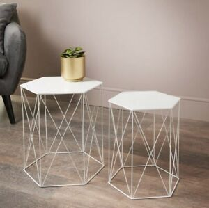 Malvern Set of 2 White Hexagon Tables Ideal For Your Home Coffee / Side Table