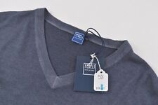 Fedeli NWT V Neck Sweater Size 48 US In Blueish Gray Merino Wool Garment Dyed