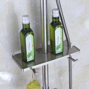 ABS Bathroom Shampoo Lotion Tray Holder Supplies Organizer Adjustable Shelf Pole