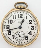 .SUPERB ELGIN 1944 B W RAYMOND 16S 21J 10K GF RAILWAY GRADE POCKET WATCH WORKING