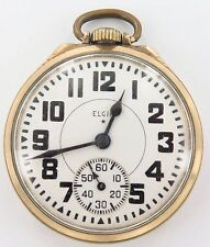 SUPERB ELGIN 1944 B W RAYMOND 16S 21J 10K G/F RAILWAY GRADE POCKET WATCH WORKING