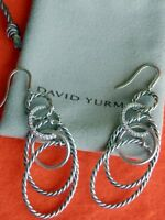 Stunning David Yurman Sterling Silver Diamond Drop Dangle Motion Earrings NEW