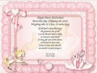 Personalized New Baby Girl Poem Date Weight Length Parents Announcement Gift
