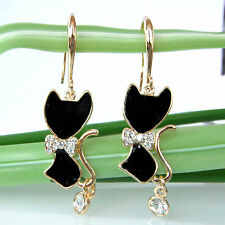 Yellow Gp Crystal Hook Earrings Bh1493 Navachi Bowknot Cat Black Enamel 18K