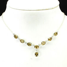 66.36ct. NATURAL GEM YELLOW CITRINE STERLING 925 SILVER NECKLACE 18inches