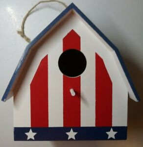 Red White and Blue Flag Design Patriotic Wooden Birdhouse With Perch 7x6.5x5.25