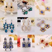1 Pair Fashion Women Crystal Vintage Drop Dangle Rhinestone Ear Stud Earrings