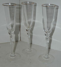 Vintage Lenox Wine Champagne Glasses Set of 3 Gold Trim