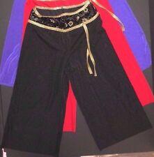 NWOT Velvet Spandex Asian Flair Capri Pants w/Gold foiling Purple/ Black coverup