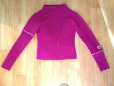 Versace SUPER SOFT Magenta Pink Metallic Stitched Knit Ribbed Sweater-Small S