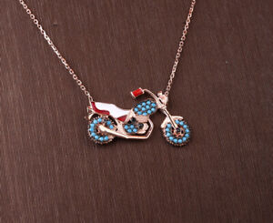 MOTORCYCLE TURQUOISE ROSE GOLD COLORED OVER STERLING SILVER NECKLACE #33918