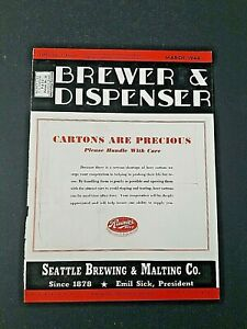 RAINIER BEER 1944 SEATTLE BREWING & MALTING Trade Mag Cover BREWER & DISPENSER