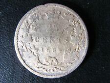 25 cents 1894 Canada Queen Victoria silver coin c ¢ quarter G-4 Badly damaged