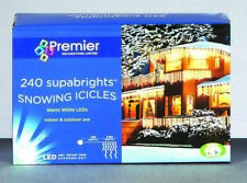 Premier Supabright Snowing LED Icicle Lights 240 Blue and White
