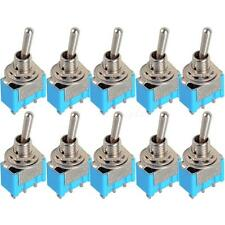 10pc Blue Mini MTS-102 3-Pin SPDT ON-ON 6A 125VAC Miniature Toggle Switches EPYG