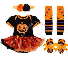 4Pcs Halloween Infant Baby Kids Romper Dress Outfit Tutu Skirt Clothes 0-3Month