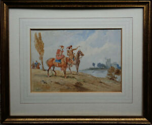 CHARLES CATTERMOLE RBA,RI,ROI 1832-1900 RETURN OF THE HUNTING PARTY W/COL 1864