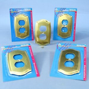 5 Leviton Brass Metal 1-Gang Receptacle Wallplate Duplex Outlet Covers 89603-CBR