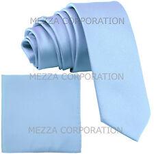 "New Vesuvio Napoli Men's 2.5"" skinny necktie & hankie set solid party light blue"