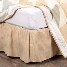 "Vhc Farmhouse Bed Skirt Dust Ruffle King Twin Cotton Tan Stripe 16"" Drop"