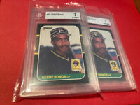 (2) Card LOT 1987 Donruss Barry Bonds #361 BGS 7 Rookie RC Graded Baseball
