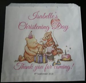Personalised Winnie the Pooh Sweet / Cake Bag for Christening / Baby Shower