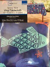 "Vinyl Tablecloth w Flannel Backing Ocean Sea Life  Fish Seahorse Coral 52"""