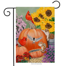 """Fall Fiesta Garden Flag Pumpkins Cardinals Floral 12.5"""" x 18"""" Briarwood Lane"""