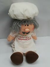 """Vtg Kamar Plush Doll Toy Chef Diet is a four letter word! White Tan 1985 20"""""""