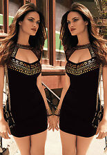 Mini Abito nero aperto Borchie Nudo Gold Studs Neck Mini open dress clubwear S