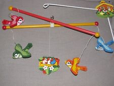 VINTAGE BABY MOBILE WOOD WOODEN WITH MULTI COLOR BIRDS NURSERY DECOR