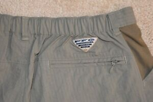 COLUMBIA PFG Large Men's Unlined 100% Nylon Cargo Shorts Brown