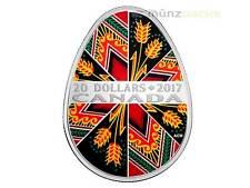 $ 20 Dollar Ukrainian Egg Traditional Pysanka 1 oz fine silver Canada 2017 Proof