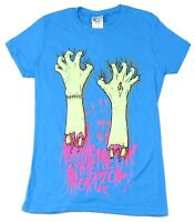 Bring Me The Horizon Hands Clawing Girls Juniors Blue T Shirt New Official BMTH