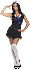 Sexy Sailor Girl Navy Fancy Dress Costume Outfit Size 12-14 P10249